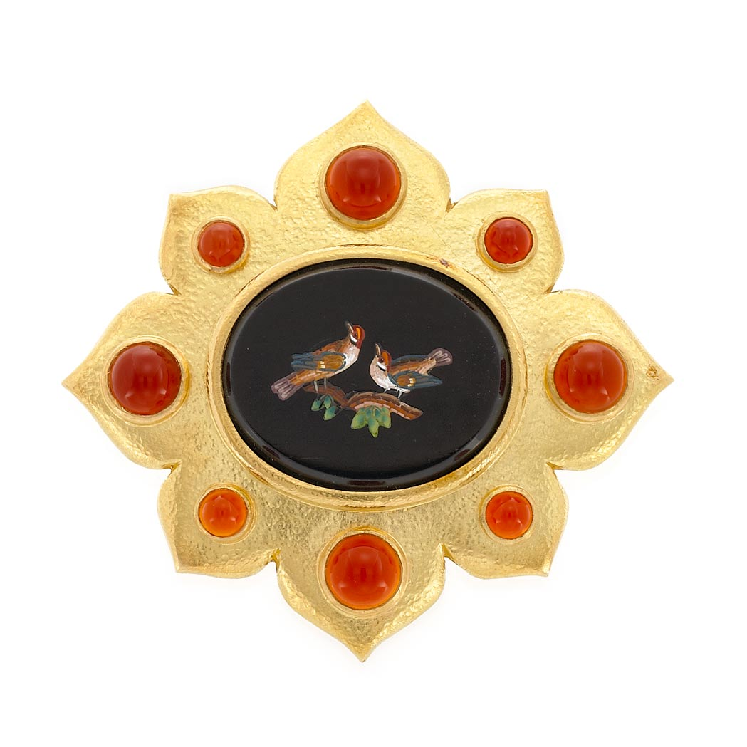 Lot image - Gold, Black Onyx, Micromosaic and Carnelian Pendant Clip-Brooch, Elizabeth Locke