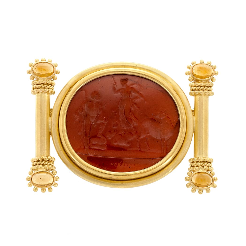 Lot image - Gold, Orange Glass Intaglio and Cabochon Citrine Clip-Brooch, Elizabeth Locke