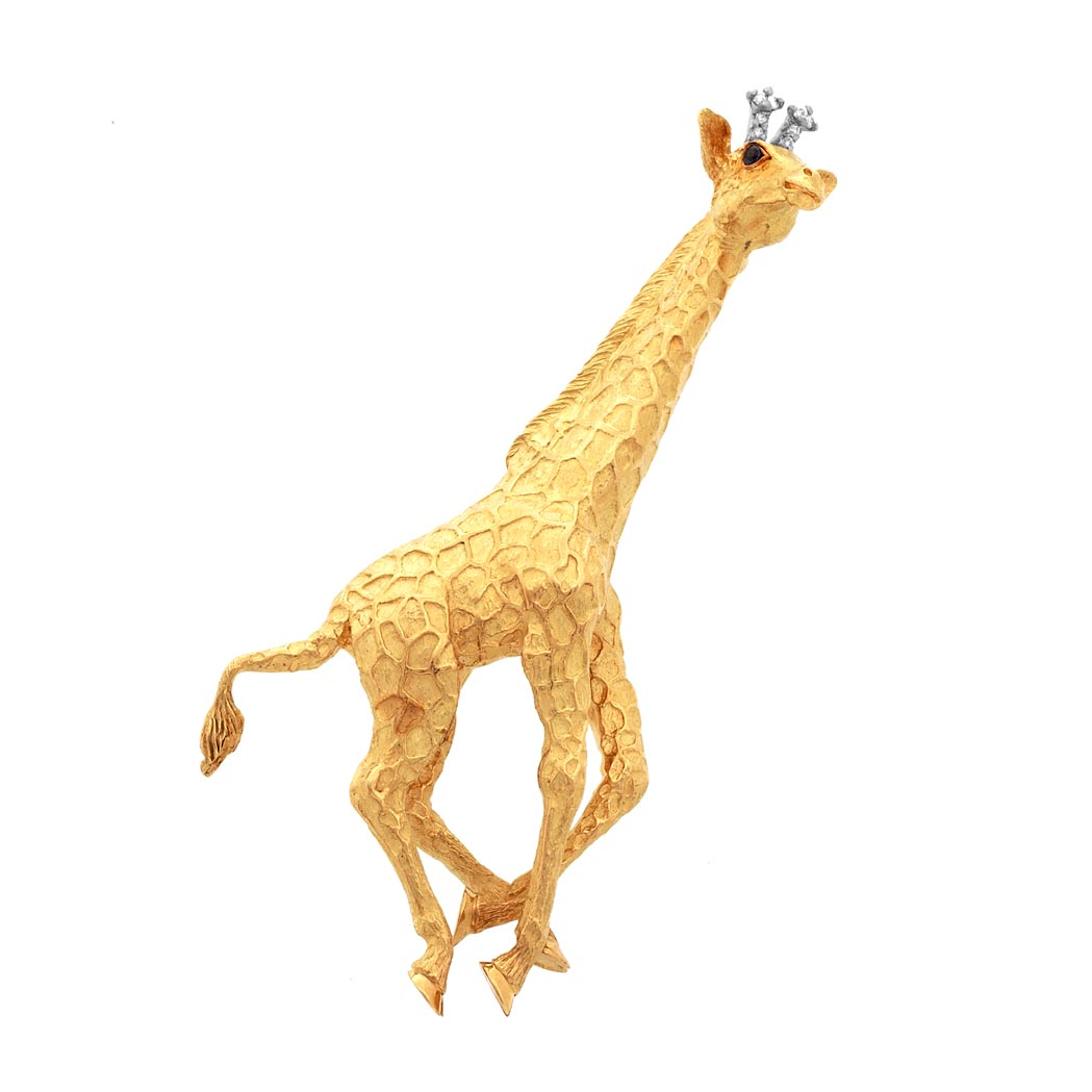 Lot image - Gold, Sapphire and Diamond Giraffe Brooch, Tiffany & Co.