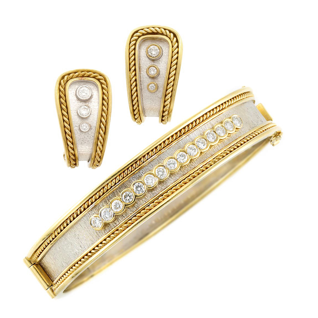 Lot image - Two-Color Gold and Diamond Bangle Bracelet and Pair of Earrings