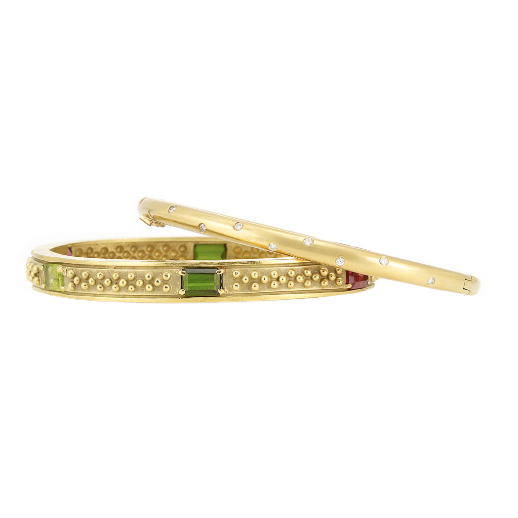 Lot image - Gold and Gem-Set Bangle Bracelet, Vahe Naltchayan, and Gold and Diamond Bangle Bracelet