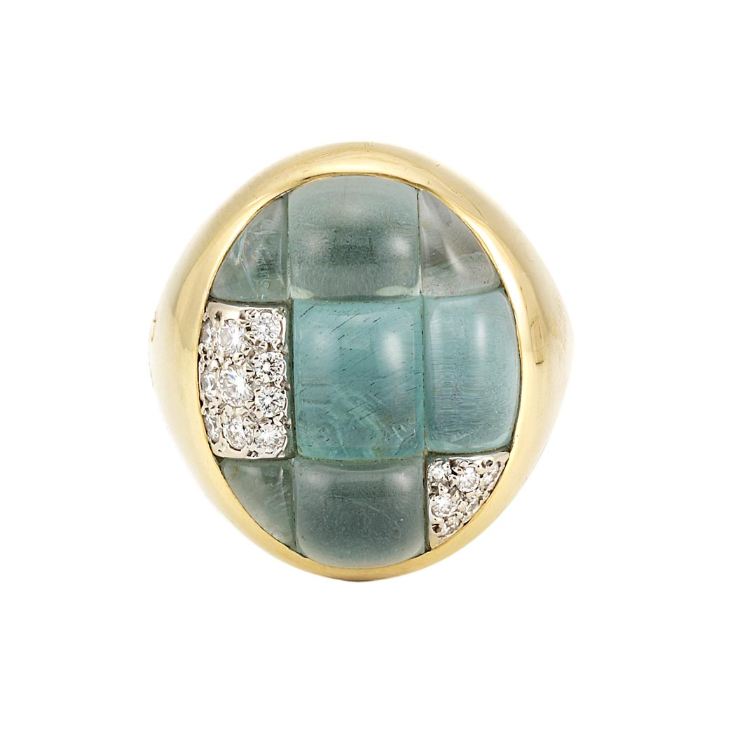 Lot image - Gold, Cabochon Aquamarine and Diamond Ring, Pomellato