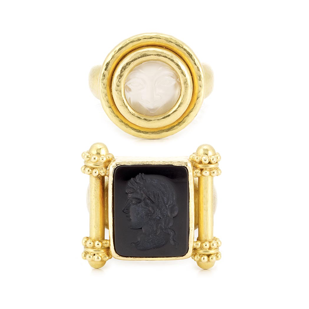 Lot image - Hammered Gold and Moonstone Cameo Ring and Black Onyx Intaglio Ring, Elizabeth Locke