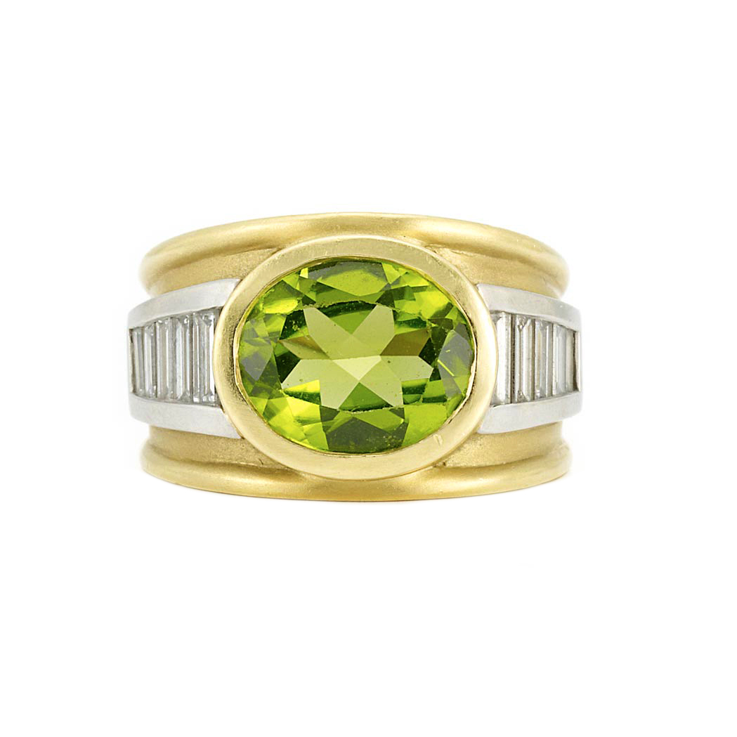 Lot image - Gold, Platinum, Peridot and Diamond Ring, Barry Kieselstein-Cord