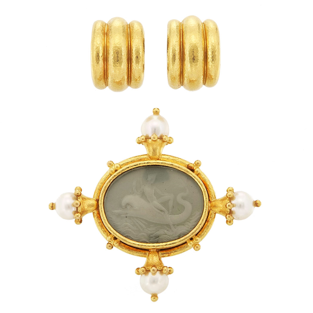 Lot image - Gold, Green Glass Intaglio and Cultured Pearl Clip-Brooch and Pair of Hammered Gold Earclips, Elizabeth Locke