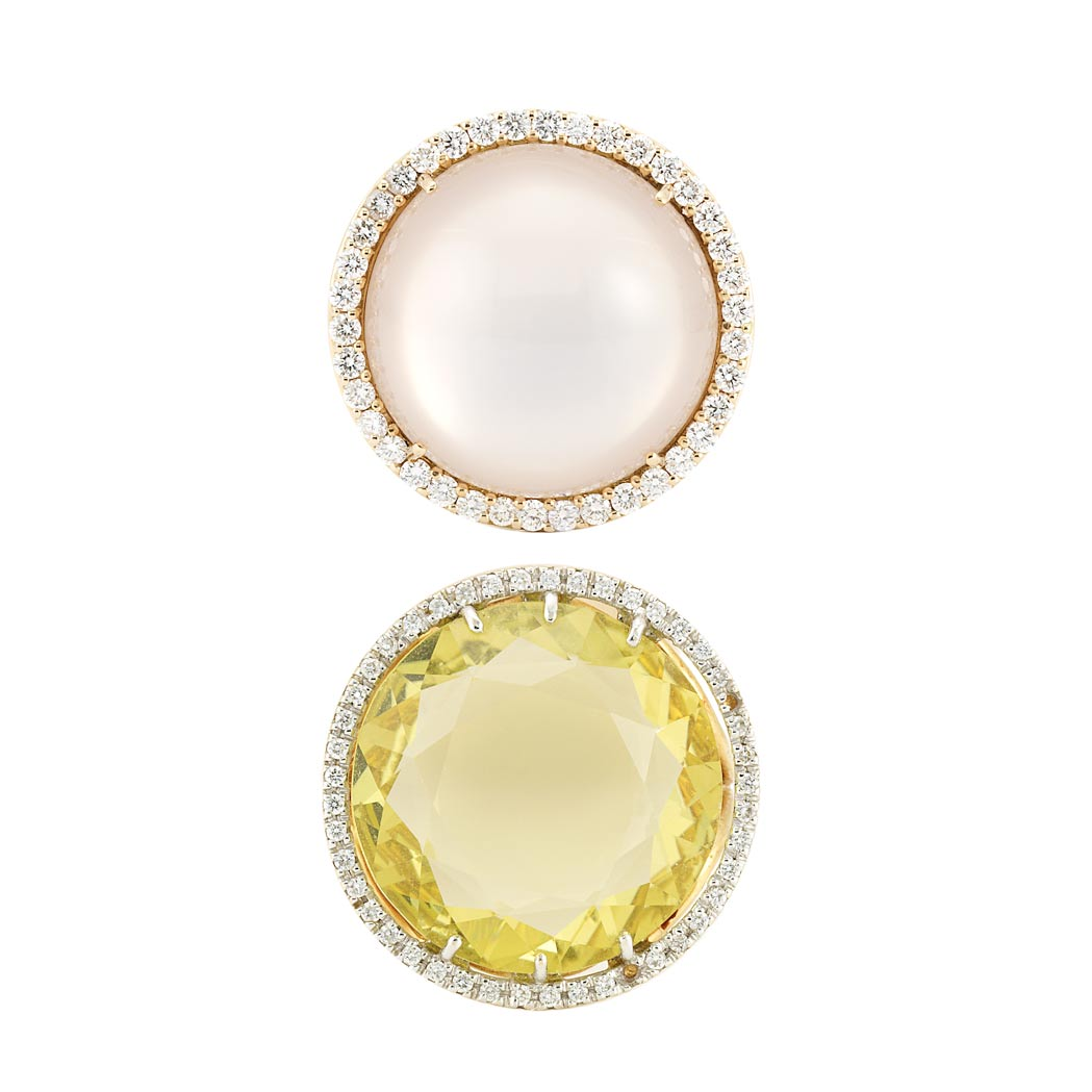 Lot image - Gold, Moonstone and Diamond Ring and Lemon Quartz and Diamond Ring