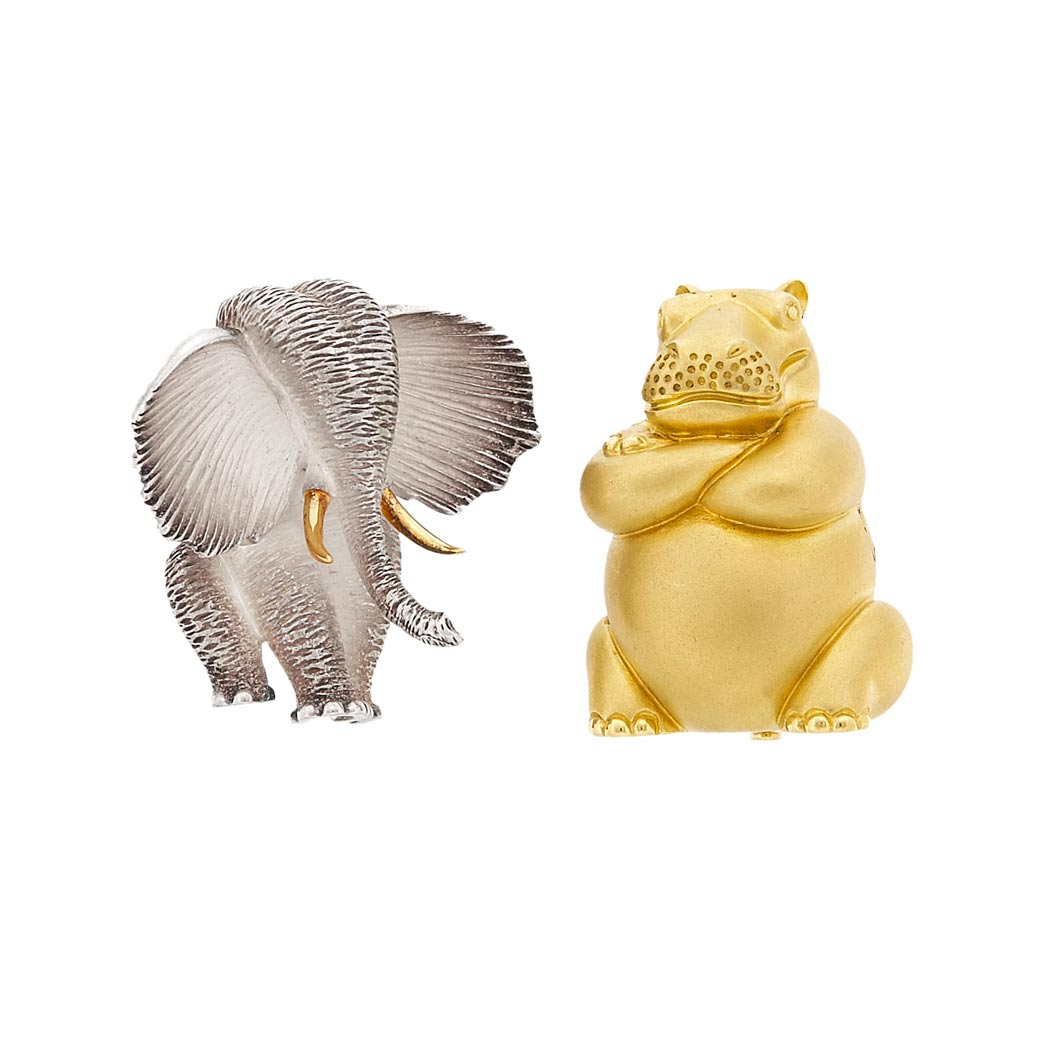 Lot image - Sterling Silver and Gold Elephant Brooch and Gold Hippopotamus Brooch, Henry Dunay