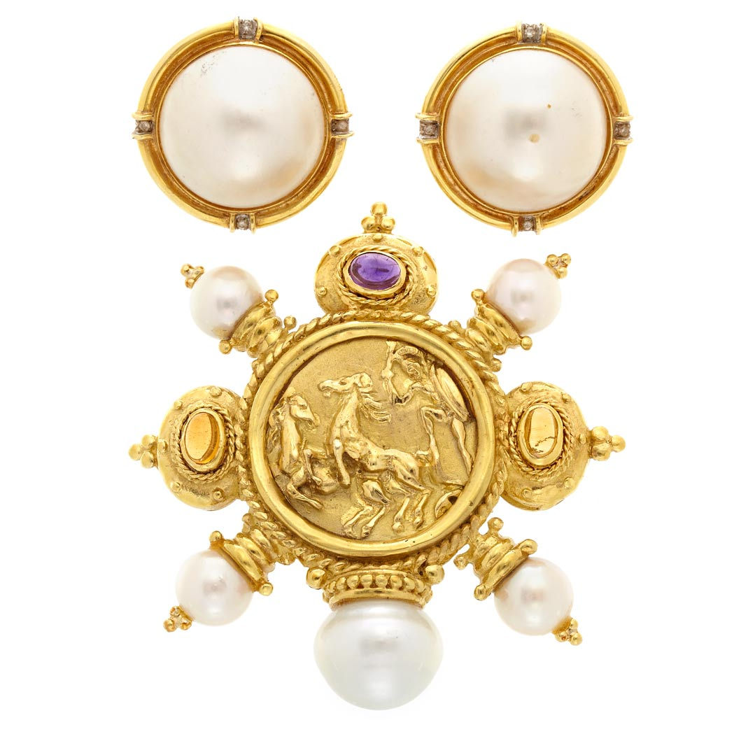 Lot image - Gold, Cultured Pearl and Cabochon Gem-Set Brooch and Pair of Gold, Mabe Pearl and Diamond Earclips