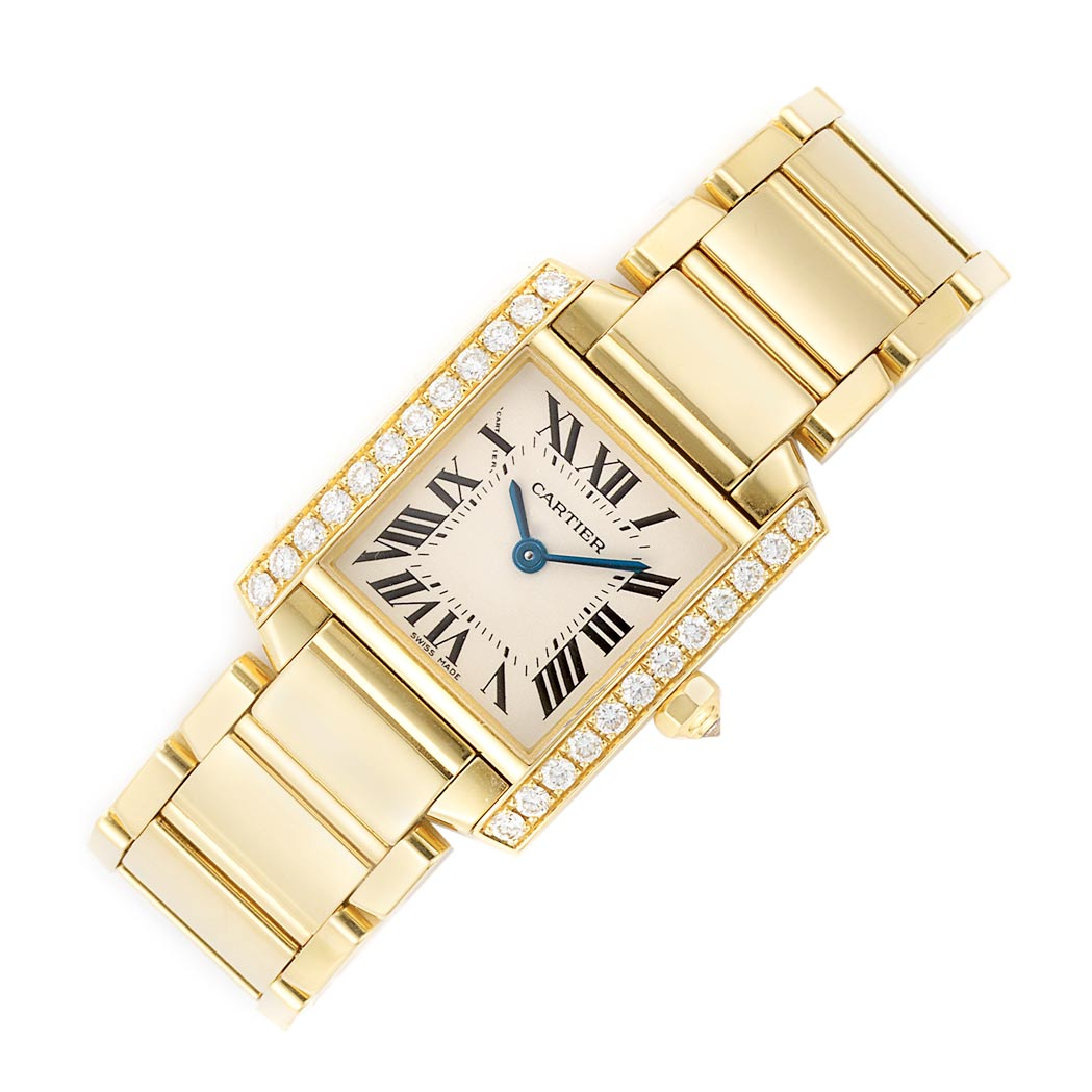 Lot image - Ladys Gold and Diamond Tank Francaise Wristwatch, Cartier