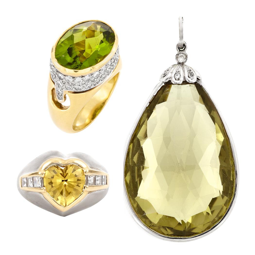 Lot image - Two Gem-Set and Diamond Rings and Lemon Quartz Briolette and Diamond Pendant