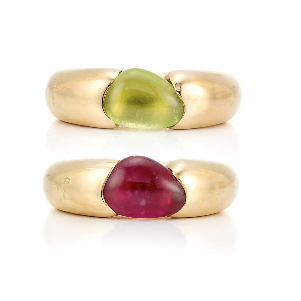 Lot image - Pair of Gold and Cabochon Gem-Set Rings