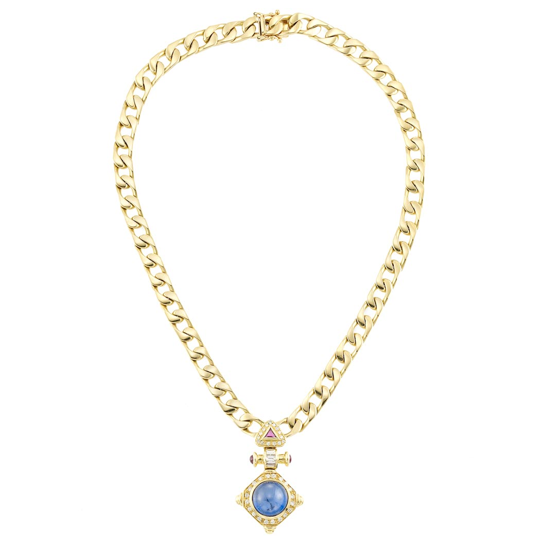 Lot image - Gold, Cabochon Sapphire, Ruby and Diamond Curb Link Chain Necklace