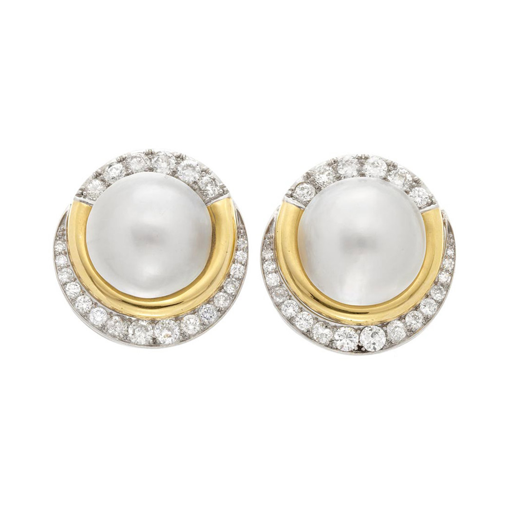 Lot image - Pair of Gold, Platinum, Mabe Pearl and Diamond Earclips
