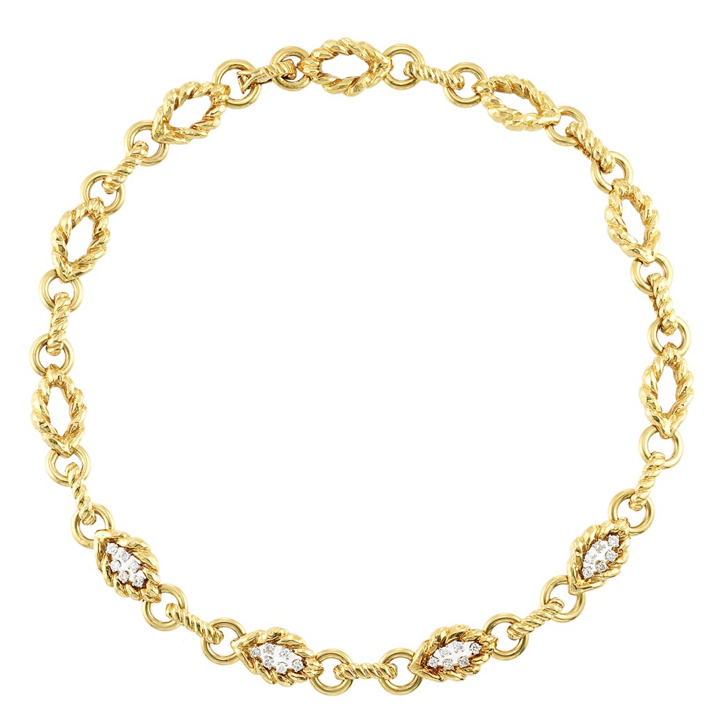 Lot image - Gold and Diamond Link Necklace