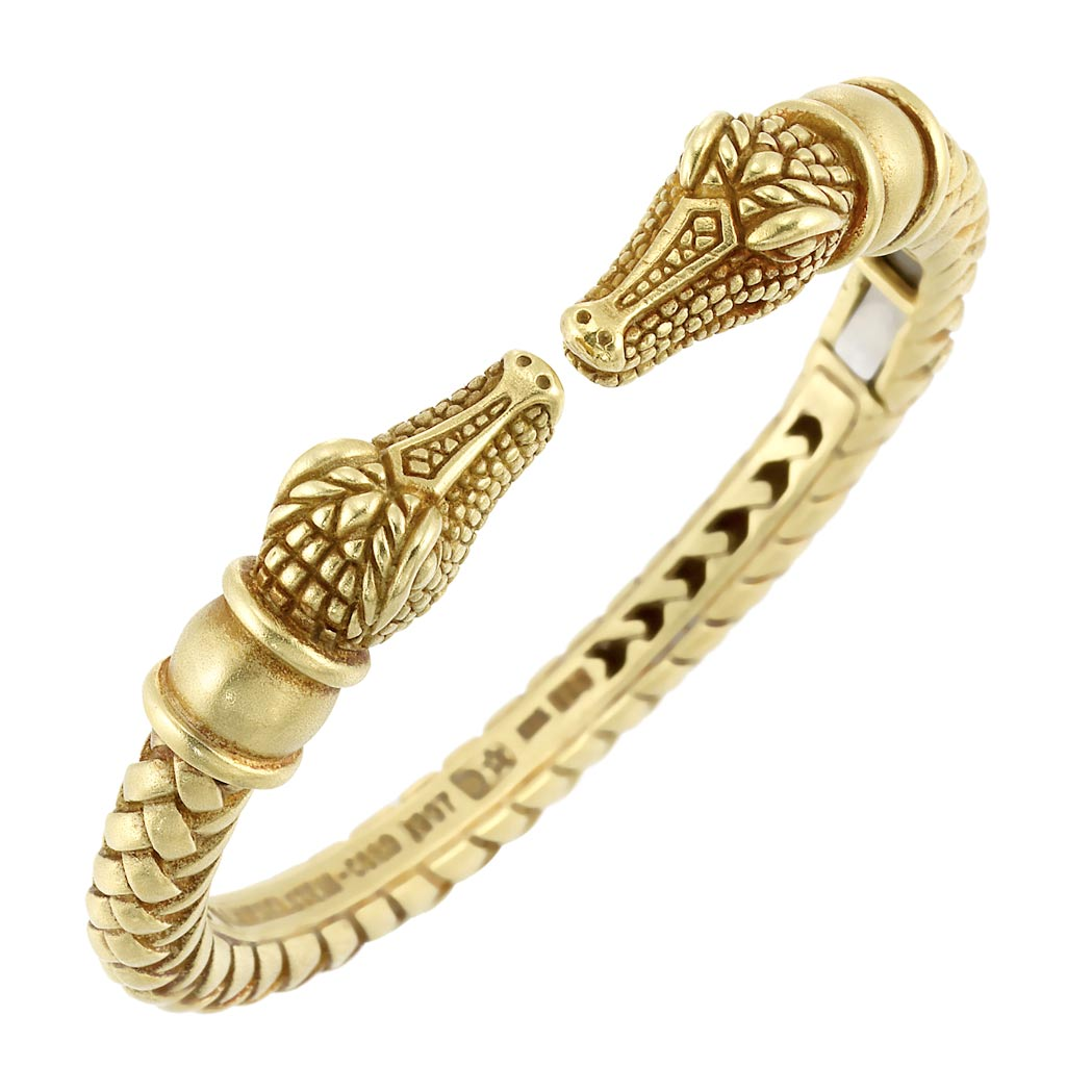 Lot image - Gold Crocodile Head Bangle Bracelet, Barry Kieselstein-Cord