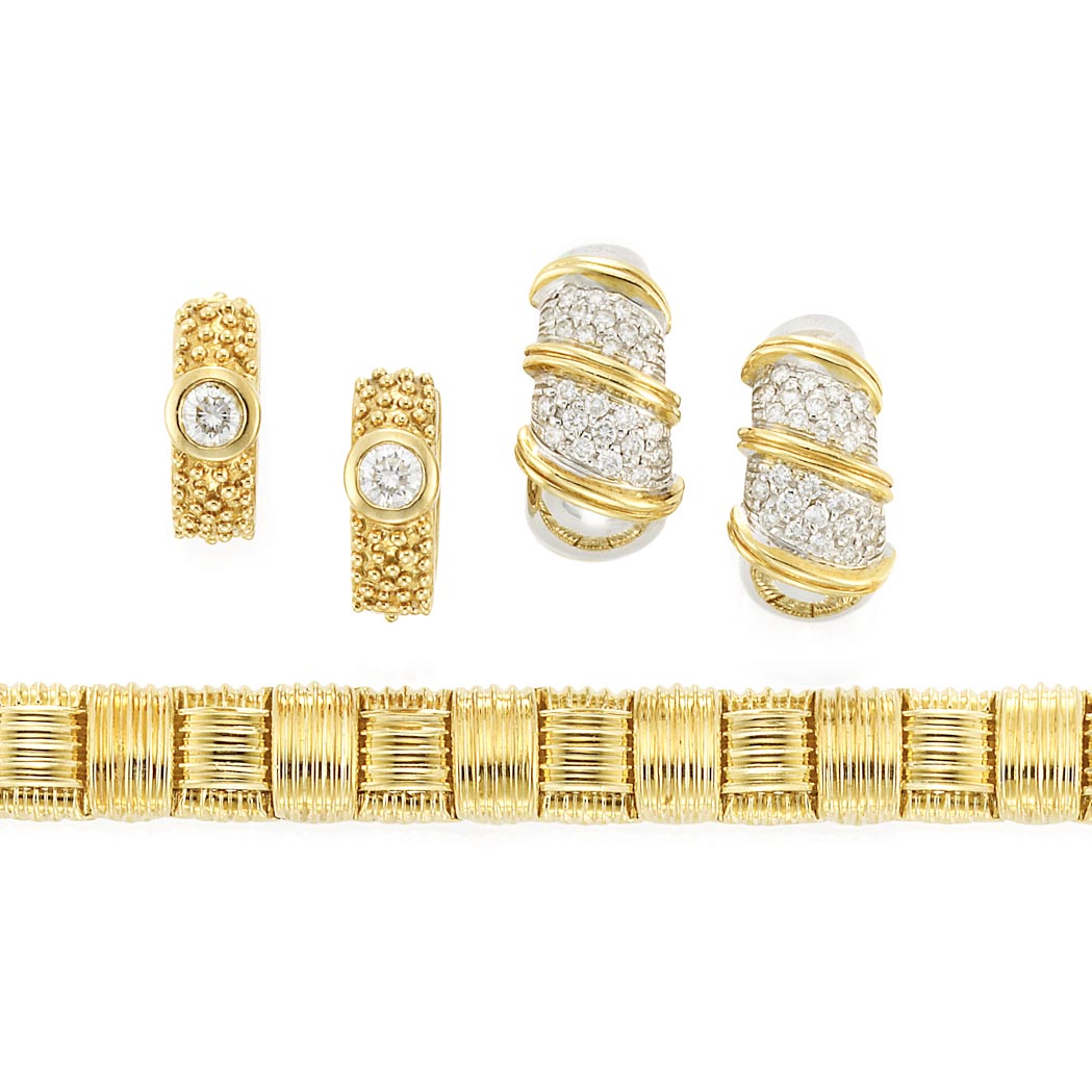 Lot image - Gold and Diamond Bracelet, Roberto Coin, and Two Pairs of Hoop Earrings