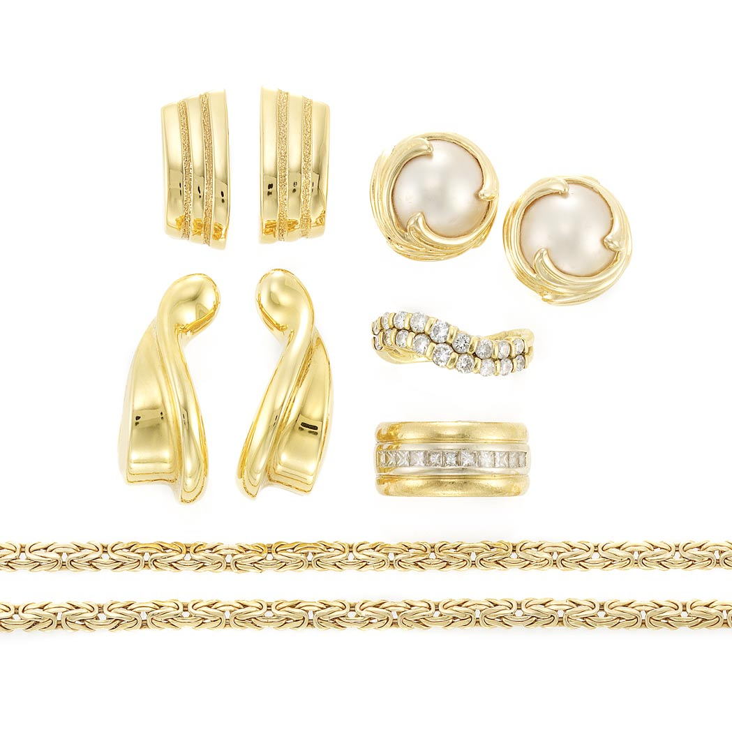 Lot image - Group of Gold, Diamond and Mabe Pearl Jewelry