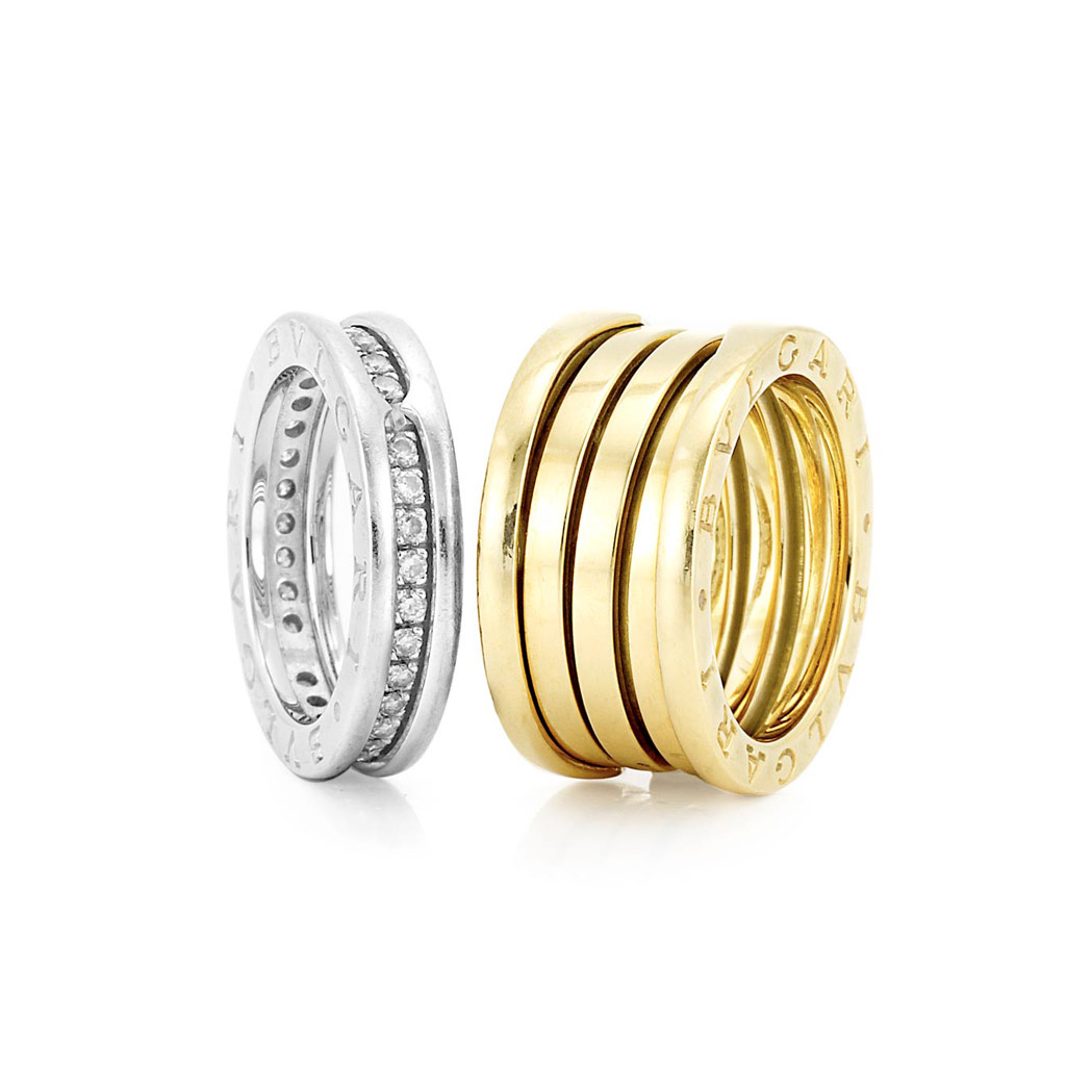 Lot image - White Gold and Diamond Band Ring and Gold Band Ring, Bulgari