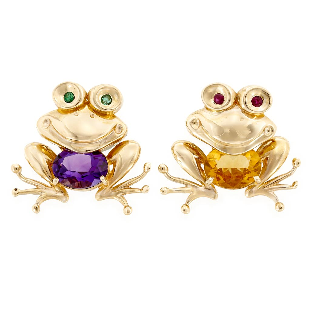 Lot image - Pair of Gold and Gem-Set Frog Pins