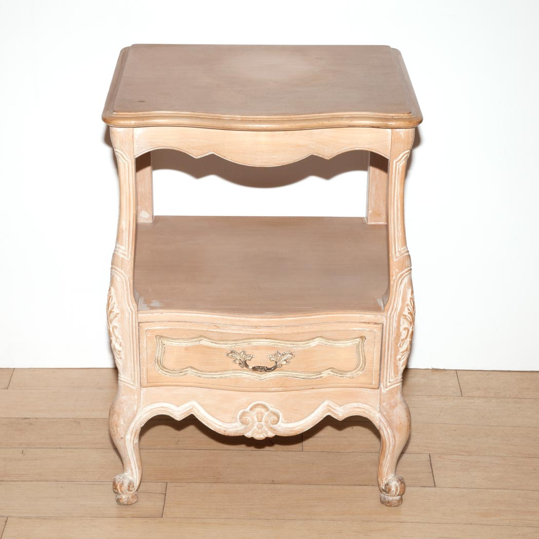 French Provincial Bleached Wood Bedside Table And A Marble Top Side Table For Sale At Auction On Wed 08 14 2013 07 00 Doyle At Home Doyle Auction House
