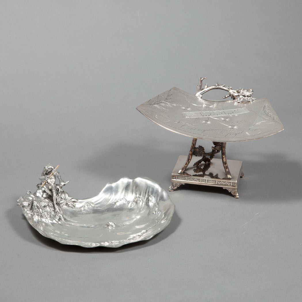 Lot image - English Aesthetic Movement Silver Plated Card Stand