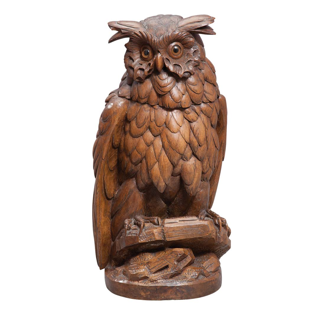 German carved wood owl form tobacco jar for sale at