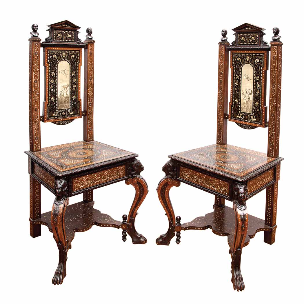 Lot image - Pair of Italian Mother-of-Pearl and Brass Inlaid Rosewood, Ebony, Ivory and Bone Side Chairs