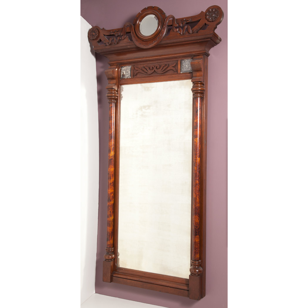 Lot image - Mahogany and Grain Painted Pier Mirror