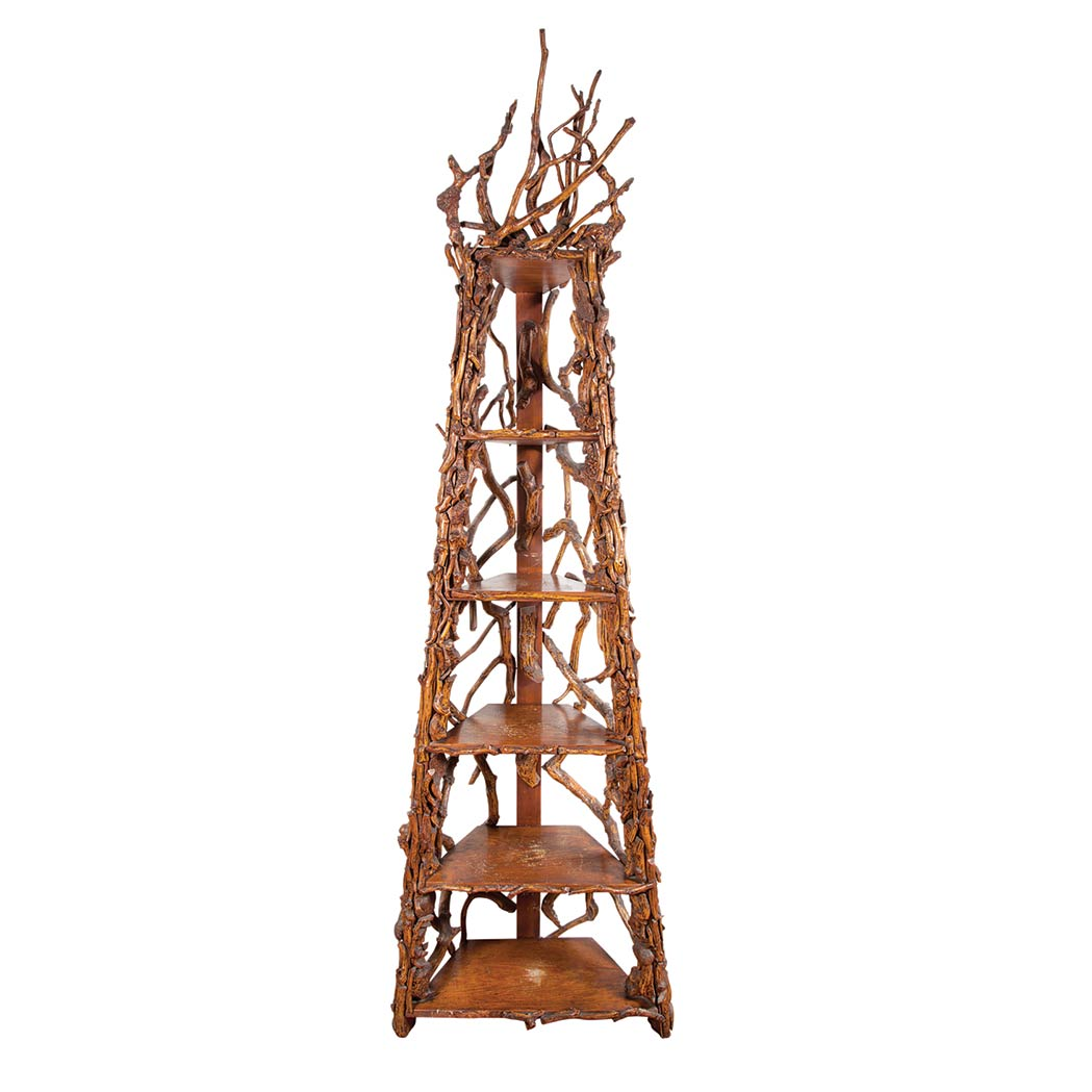 Lot image - Rustic Style Twig and Branch Etagere