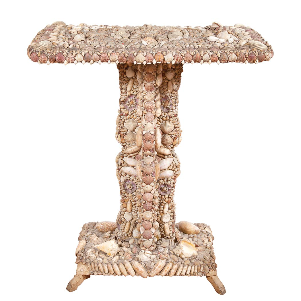 Lot image - Shell Encrusted Wood Occasional Table