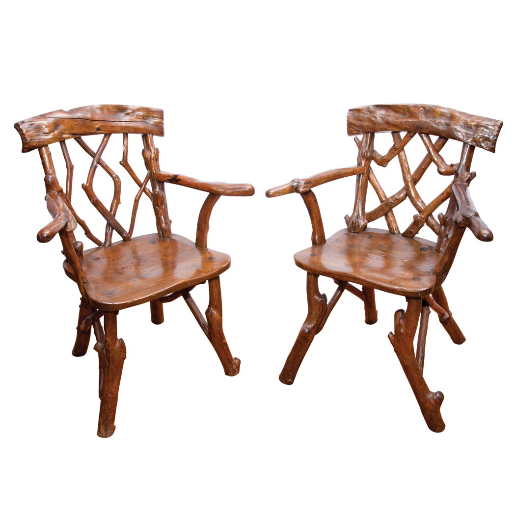 Lot image - Pair of Rustic Branch Garden Armchairs