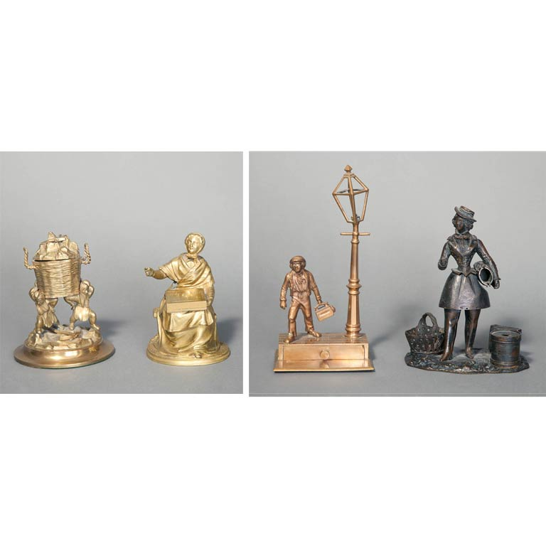Lot image - Group of Four Gilt-Bronze and Patinated Bronze Figural Table Decorations