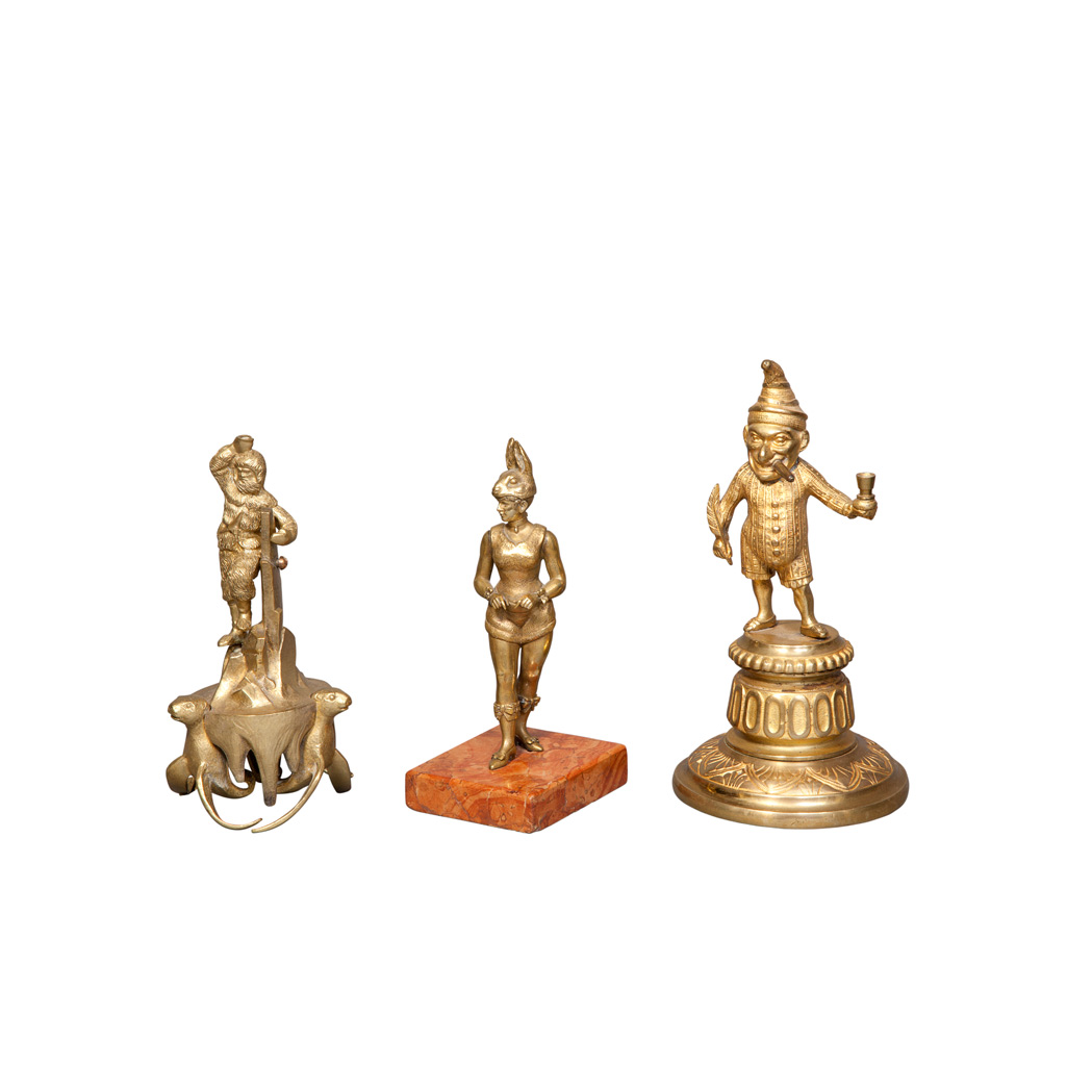 Lot image - Group of Three Bronze and Brass Figures