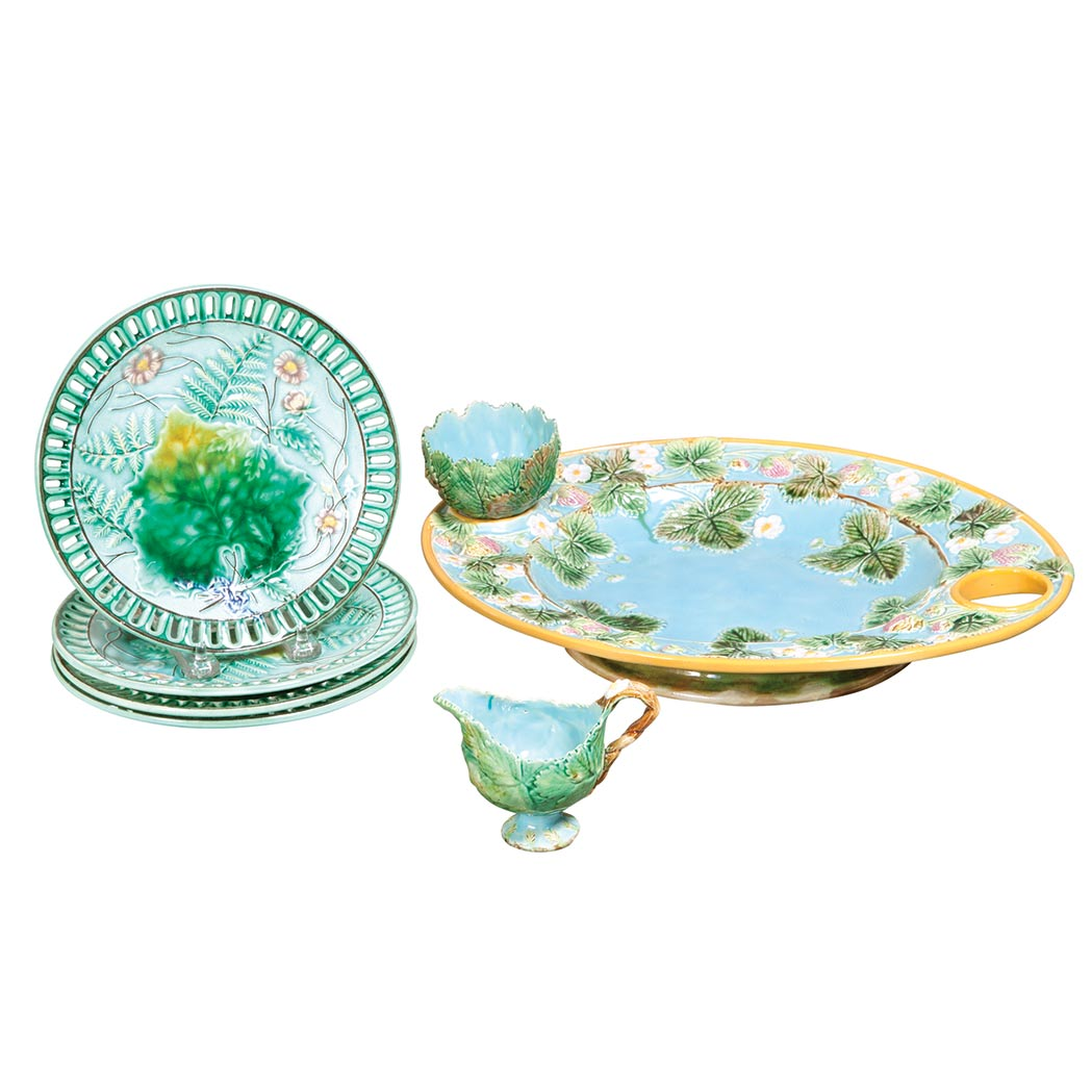 Lot image - George Jones Majolica Strawberry Server; Together with a Set of Four Majolica Reticulated Molded Dessert Plates