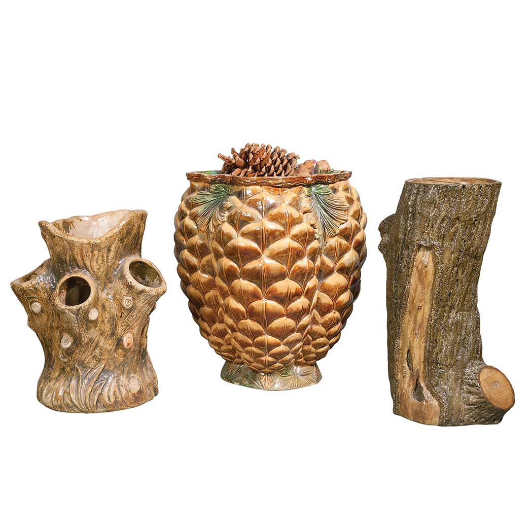 Lot image - Wilhelm Schiller & Sons Pine Cone Molded Glazed Ceramic Jardiniere; Together with Two Stoneware Rustic Style Articles