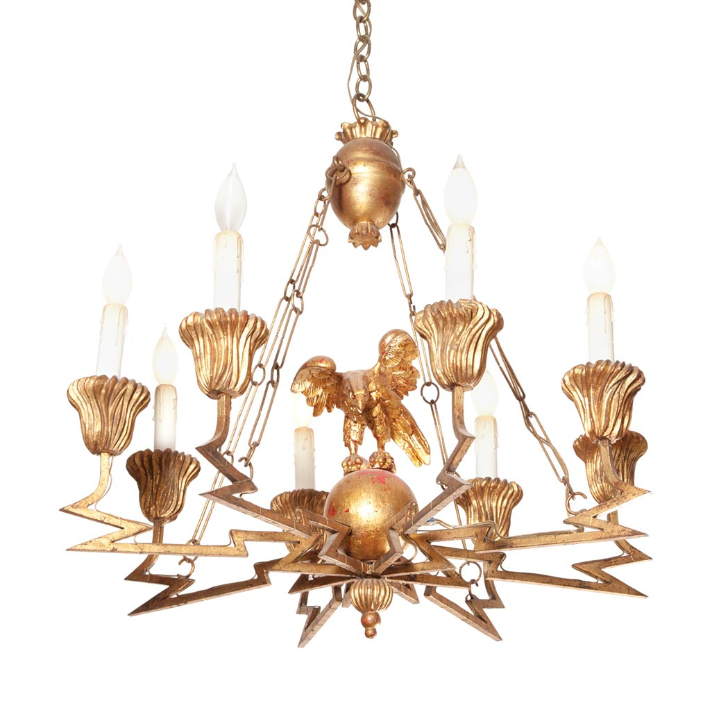Lot image - Neoclassical Style Gilt-Iron Eight-Light Chandelier