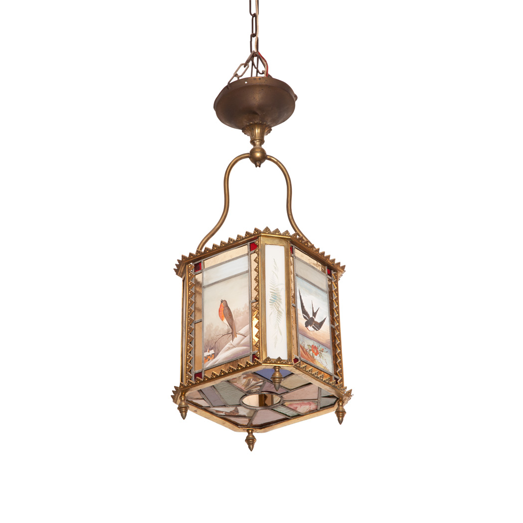 Lot image - English Aesthetic Movement Brass, Stained and Painted Glass Hall Lantern