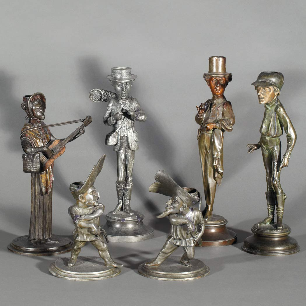 Lot image - Group of Six Amusing Spelter Figural Candlesticks