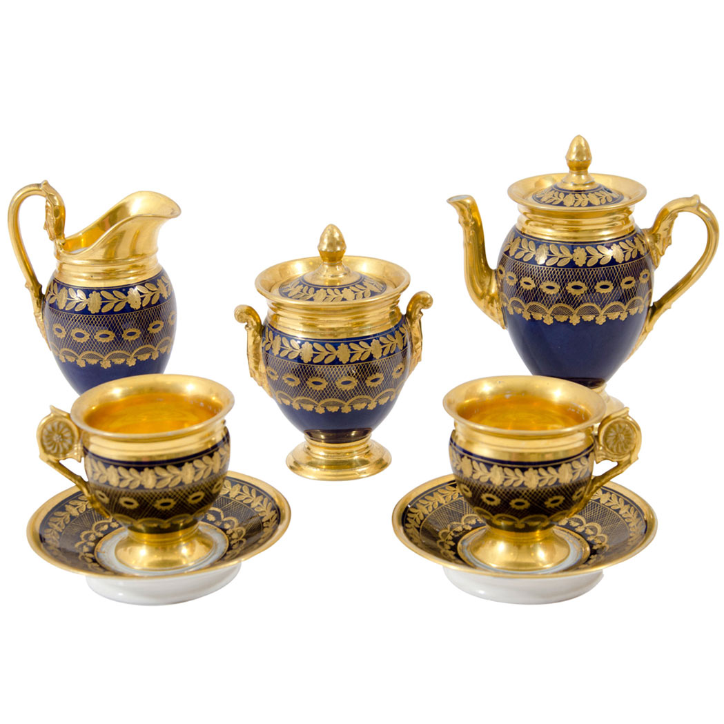 Lot image - Paris Gilt and Cobalt Decorated Porcelain Tete a Tete