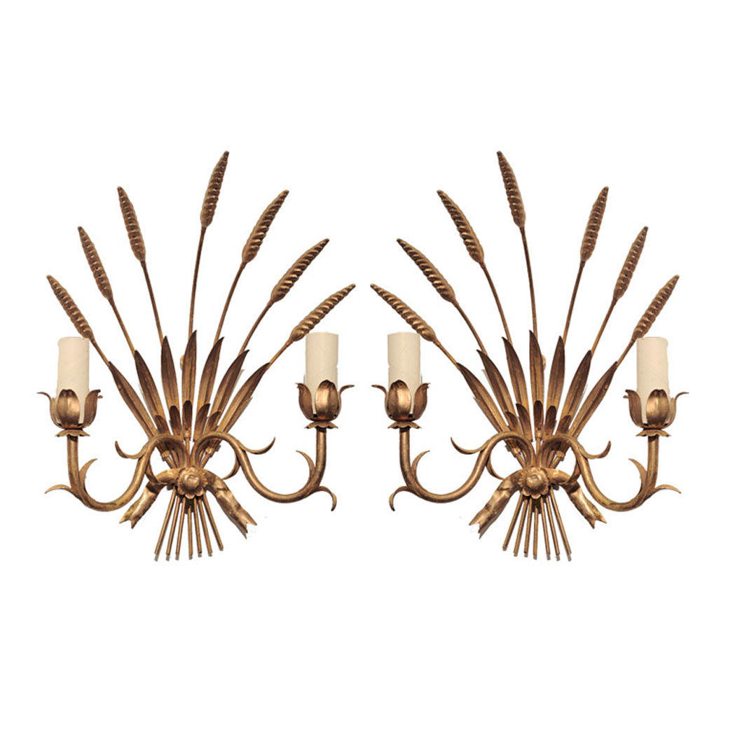 Lot image - Pair of Neoclassical Style Gilt-Metal Two-Light Sconces