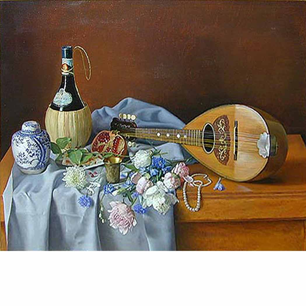 Lot image - Elya Peker  Russian/American, b. 1937 Still Life with Pomegranate, Bouquet and Mandolin