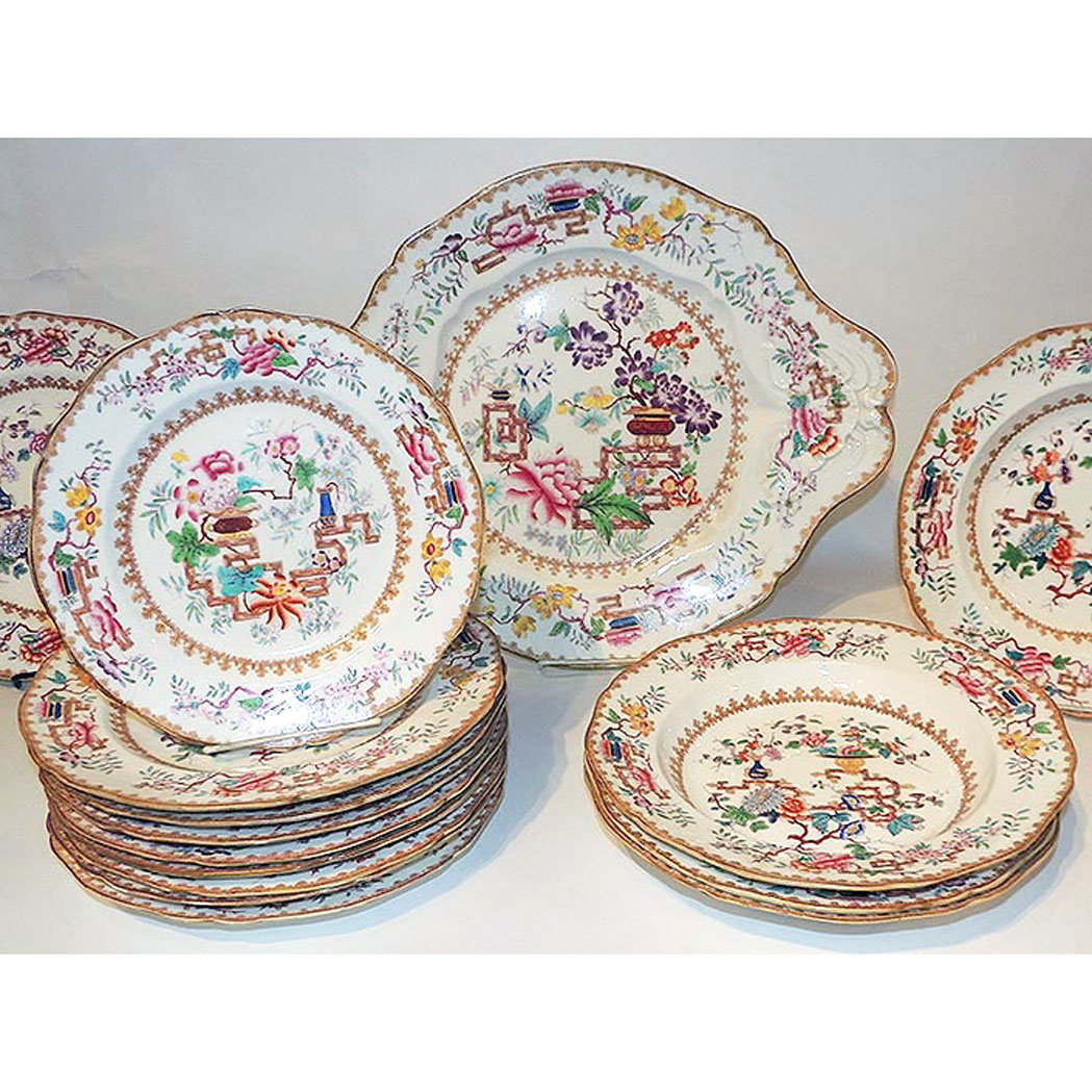 Lot image - Staffordshire Porcelain Partial Dinner Service