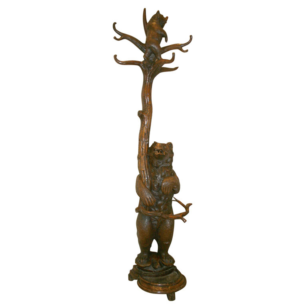 Lot image - Black Forest Carved Walnut Hall Tree