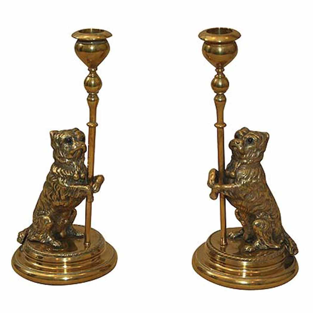 Lot image - Pair of Victorian Brass Dog-Form Candlesticks