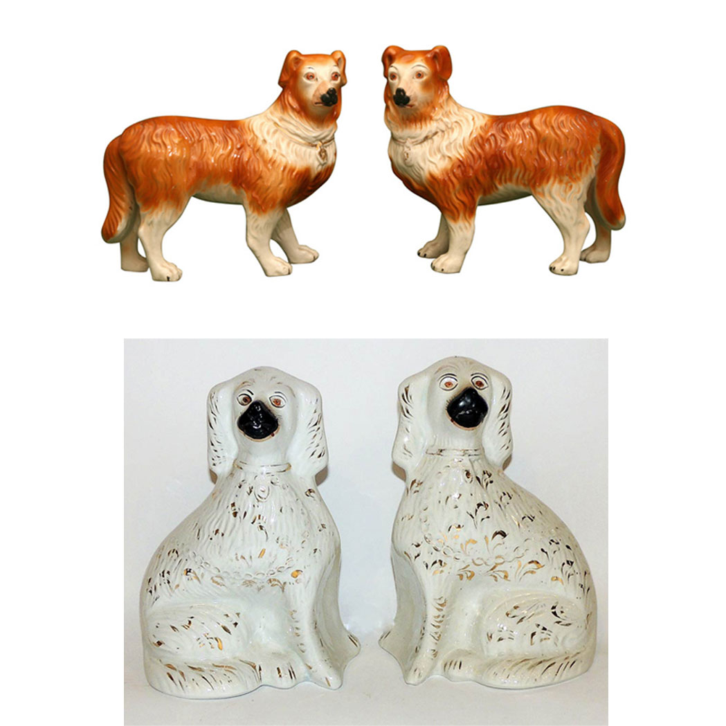 Lot image - Two Pairs of Staffordshire Pottery Figures of Border Collies and Spaniels
