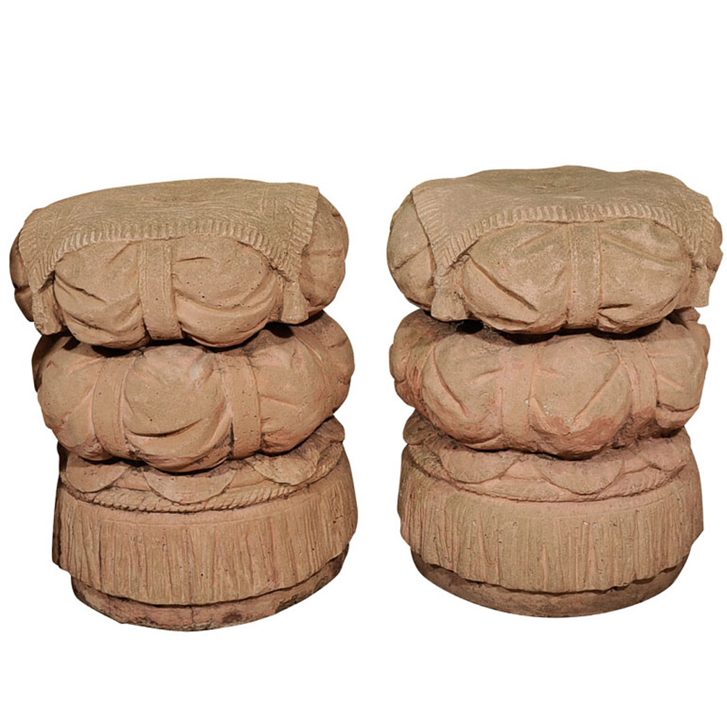 Lot image - Pair of Cast Stone Garden Seats
