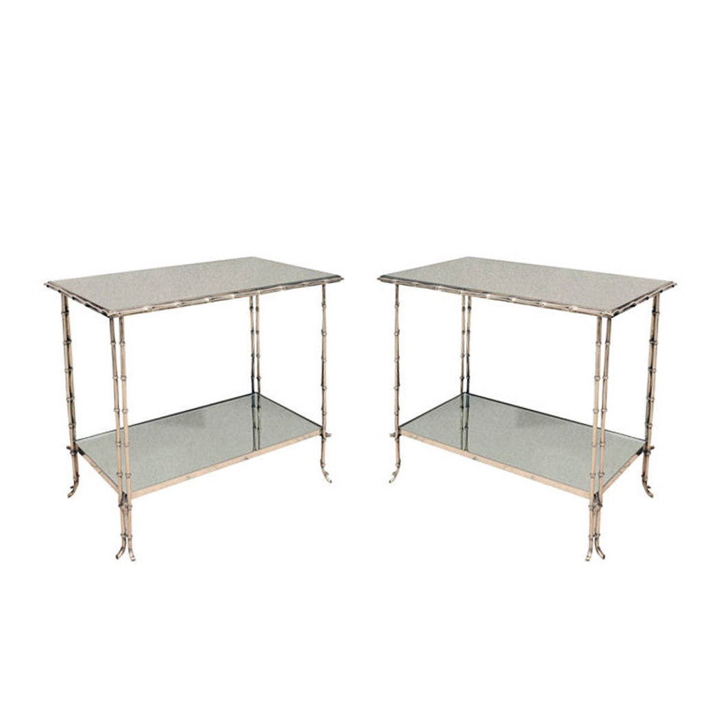 Lot image - Pair of Bagues Style Faux Bamboo Chrome and Mirrored Two-Tier Side Tables