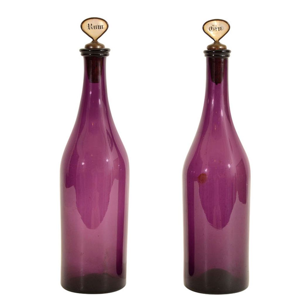 Lot image - Pair of Amethyst Glass Decanters