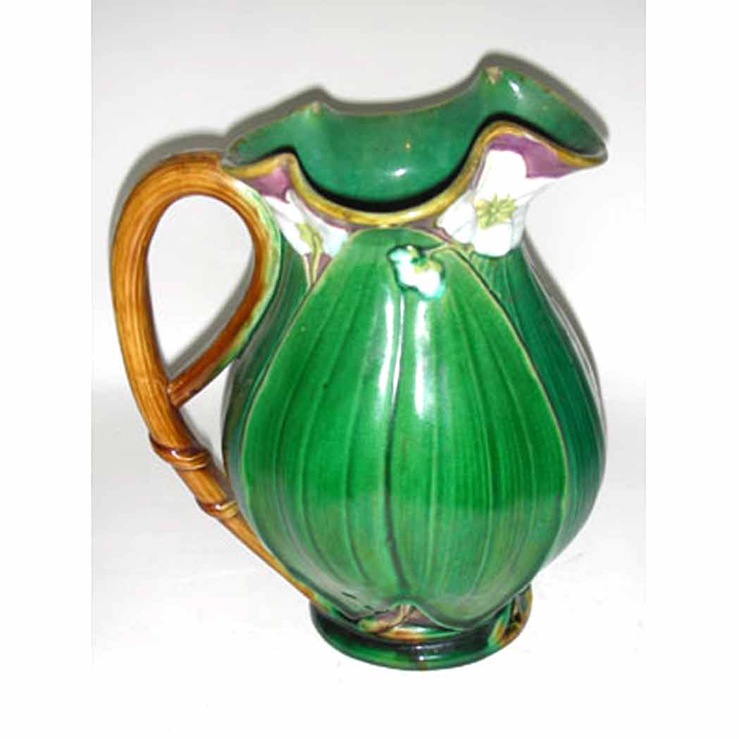 Lot image - Two English Majolica Water Pitchers