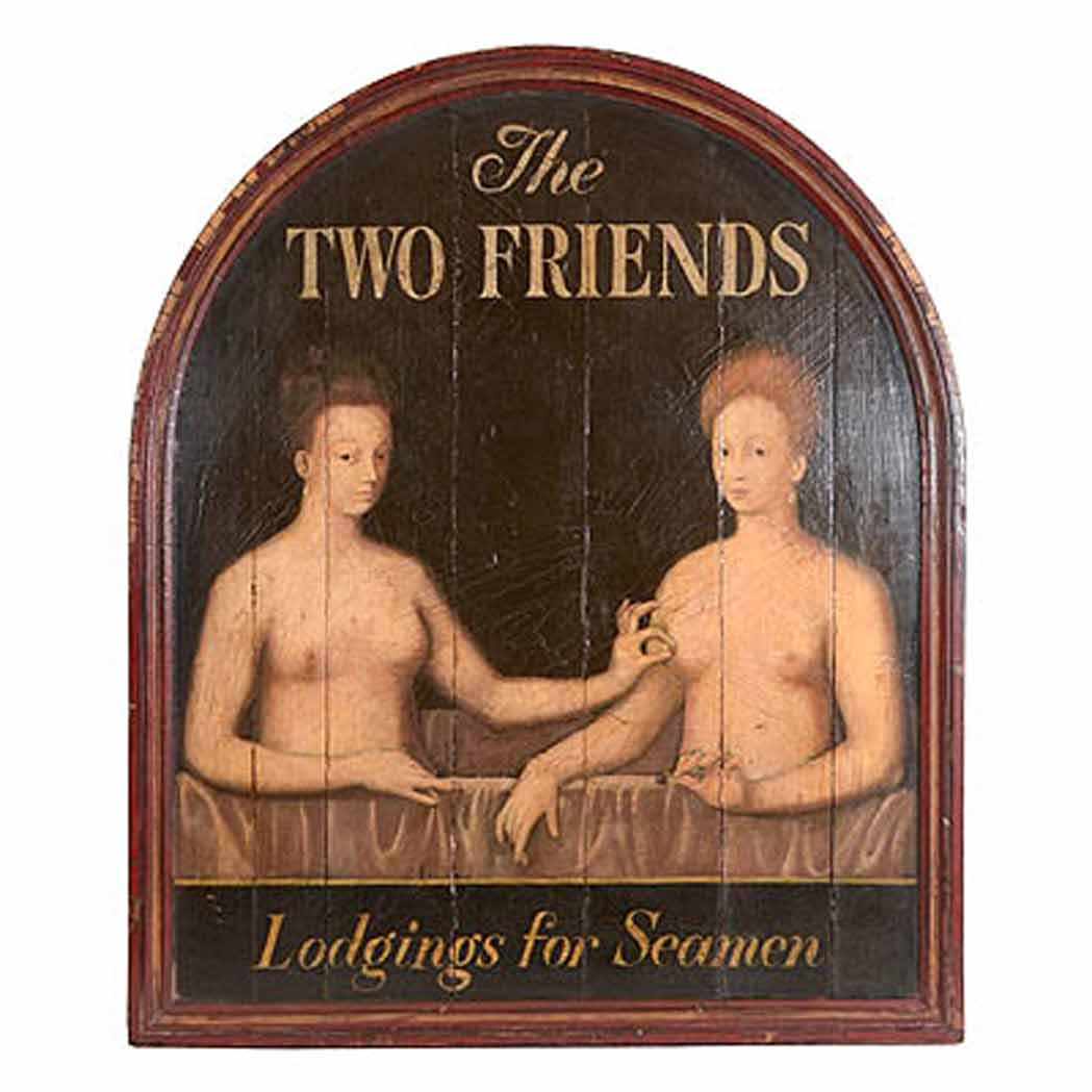 Lot image - Painted Trade Sign   Modern Titled The Two Friends/ Lodging for Seamen.